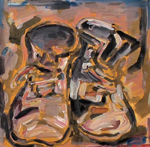 דוד הנדלר, נעליים, ללא תאריך. גואש ואקוורל על נייר מוצמד, אוסף פרטי