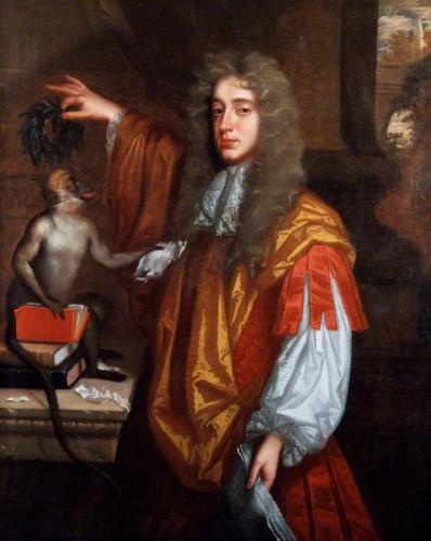 צייר לא ידוע, ג'ון וילמוט, הרוזן השני של רוצ'סטר, בסביבות 1666-1670. שמן על בד,  The National Portrait Gallery, London המסר הסאטירי בדיוקנו של רוצ'סטר הוא כמעט לבטח פרי הכוונתו. בתמונה, מחזיק הרוזן בידו האחת כתב יד ובאחרת זר תהילת המשוררים בו הוא מכתיר את הקוף, המגבב ג'יבריש מפיו שעה שהוא קורע דפים מספר ומוסר לו אותם.