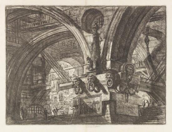 Giovanni Battista Piranesi, לוח מס' 15 מהסדרה Caraceri d`Invenzione, 1760. Etching, Via Ketter Kunst