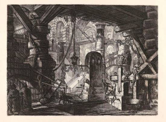 Giovanni Battista Piranesi, לוח מס' 16 מהסדרה Caraceri d`Invenzione, 1749-1750. תחריט,   via Katter Kunst