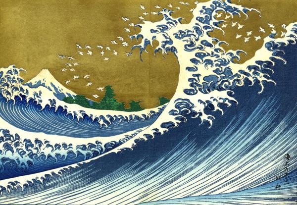 "Katsushika Hokusai, ""פוג'י ניראה מהים"", מהסדרה ""מאה נופים של הר פוג'י"", כרך 2, 1834. הדפס עץ צבעוני על ניר,  Via Physics"