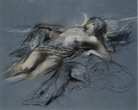 Arthur Wardle, אנדימיון (מתנשק בחלומו עם הלבנה), תאריך לא ידוע. עפרון ופסטל על נייר כחול,  via Victorian Web