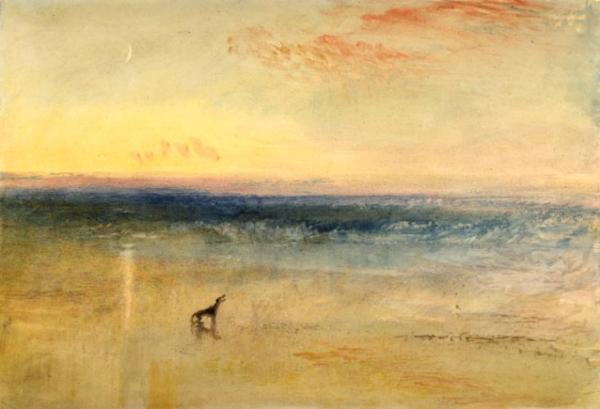 Joseph Mallord William Turner, זריחה לאחר שהספינה נטרפה, כנראה 1841. אקוורל, גואש ומחיקות,  Tate Gallery, London