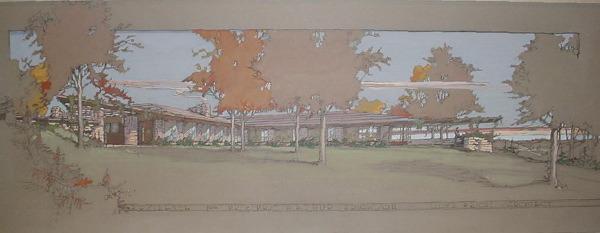 פרנק לויד רייט, בית מגורים עבור מר וגב' ארתור אריקסון, 1950. טמפרה ועפרון על לוח ציירים צבוע,  Via ArchiTech