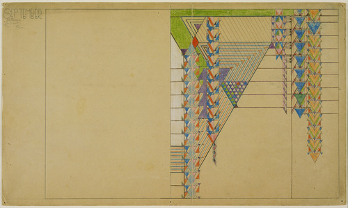 פרנק לויד רייט, הפשטות ספטמבר, המדבר, עיצוב לעמוד השער של מגזין ליברטי, 1927. עפרון על נייר,  Museum of Modern Art, New York