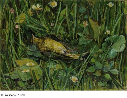 Martha Pfannenschmid (1900-1999), צפור קטנה מתה (החיים הם חלום קצר), ללא תאריך. שמן על לוח, Kunstmuseum Basel