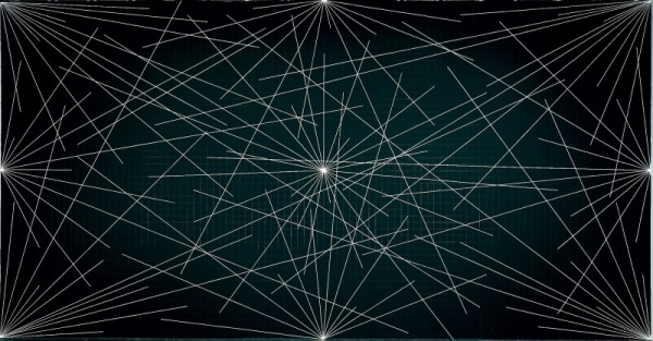 Sol LeWitt, ציור קיר מס. 289, 1976, פרט. קווי גיר לבן ורישות בעפרון שחור על קירות שחורים,  Whitney Museum of American Art, New York