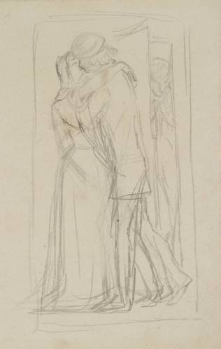 """Arthur Hughes, רישום הכנה ל""""ליל סנט אגנס"""", 1856. גרפית על ניר, טייט, לונדון"""