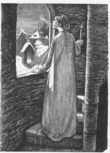 נָהִיר הִכְאִיב לִבָּהּ לַצֶּלַע הַנִּרְדֵּמֶתJohn Everett Millais, St. Agnes Eve, Engraved by the Dalziels, 1857. Wood Engraving, via Victorian Web