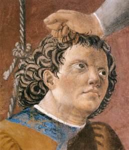 פיירו דלה פרנצ'סקה, עינוי היהודי מתוך אגדת הצלב (פרט).