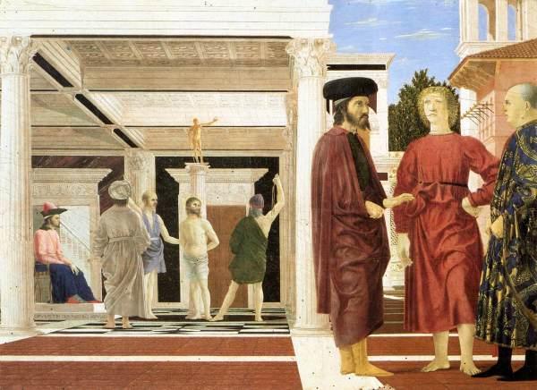 פיירו דלה פרנצ'סקה, הלקאת ישוע, ככל הנראה 1455-1460. צבעי שמן וטמפרה על לוח, Galleria Nazionale delle Marche in Urbino, איטליה