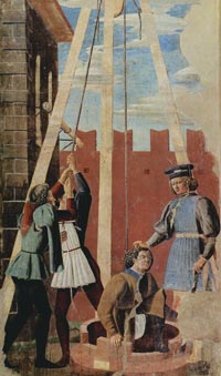 פיירו דלה פרנצ'סקה, עינוי היהודי, פרסקו, 1455. קפלה מג'ורה בכנסית סאן פרנצ'סקו, ארצו, איטליה, via casasantapia.com