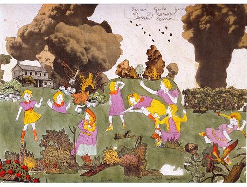 """הנרי דארג'ר, """"גלוריניה ובנות ויויאן במנוסה בבית ארונבורג, נורו ע""""י תותח גלאנדליני"""", מחצית המאה ה-20. American Folk Art Museum, New York"""
