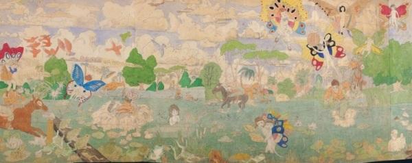 הנרי דארג'ר, ללא כותרת (הבְּלֶנְגִינִים תופסים את חיילי גְלַאנְדֶלִינְיָּה, פרט), מחצית המאה ה-20. צבעי מים, עפרון, העברה בניר פחם וקולאז' על ניר.  American Folk Art Museum, ניו יורק.