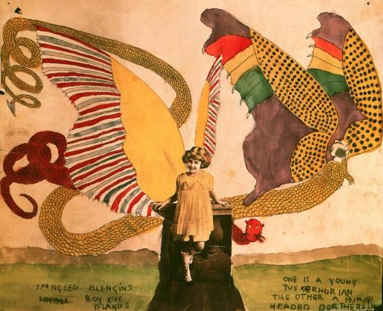 הנרי דארג'ר, ללא כותרת (טוסקאלוריני צעיר בחברת דורותייני בעל ראש אנושי), מחצית המאה ה-20. Via Tumbler