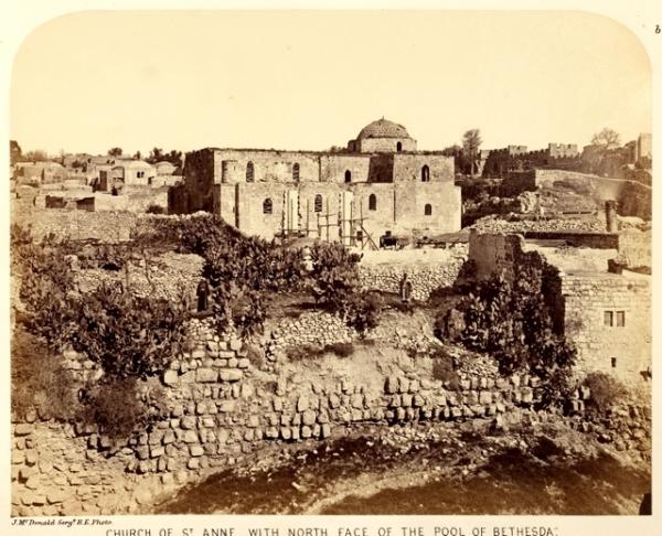 Charles W. Wilson, בריכת בית חסדא לצד כנסית סט. אן, 1865. Via The Center for Online Judaic Studies, COJS