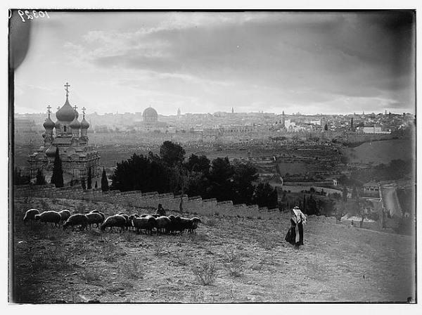 צלם לא ידוע, נוף ירושלים וגת שמנים, תאריך לא ידוע. Via eBay