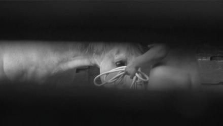 """אדריאן פאצ'י, תמונת סטיל מסרט הווידאו """"בתוך המעגל"""", 2011.  Via Peter Blum Gallery, NYC"""