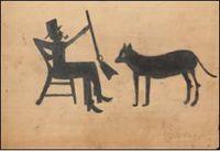 ביל טריילור, איש עם רובה, ללא תאריך.  Via Hunters & Gatherers (via Antiques and the Arts)