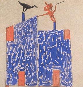 """ביל טריילור, ללא כותרת (""""צפור ואיש על בתים""""), בין השנים 1939-1943. צבע וגרפית על קרטון,  High Museum of Art, Atlanta"""