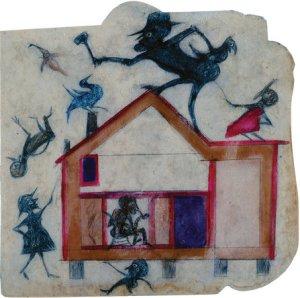 """ביל טריילור, ללא כותרת (""""קונסטרוקציה"""", או """"בית האירוע המרגש עם דמויות""""), בין השנים 1939-1943. עפרון ועפרון צבעוני על קרטון שנמצא ברחוב, High Museum of Art, Atlanta, via The Smart Set"""
