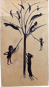 ביל טריילור, ללא כותרת (צֵיד אדם), בין השנים 1939-1943. גרפית וצבע על קרטון,  High Museum of Art, Atlanta