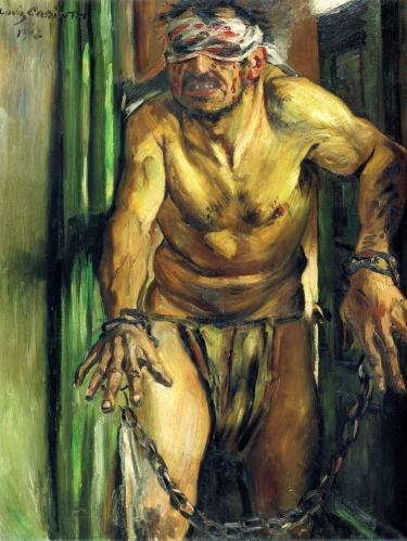 Lovis Corinth, שמשון עקור עיניים, 1912. שמן על בד, Alte Nationalgalerie, ברלין