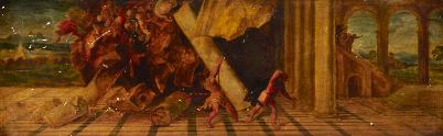 Thomas F. Hodgkins, שמשון והפלישתים, לפני 1892. שמן על לוח, Dulwich Picture Gallery, לונדון