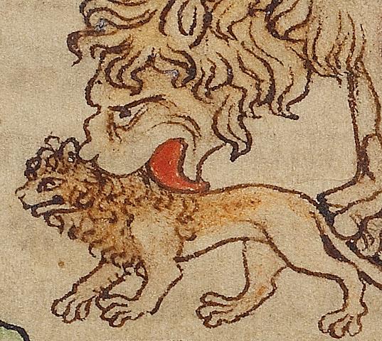 אמן לא ידוע, האריות (פרט), ספר החיות של נורת'מברלנד, 1250-60. דיו וצבע על קלף, מוזאון Getty, לוס אנג'לס