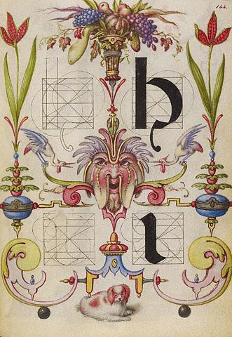 Joris Hoefnagel, קליגרפית המשתנים הגדולה: מדריך ליצירת האותיות H ו-I, 1561-1562 , The Getty Museum, Los Angeles