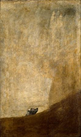 """פרנסיסקו גויה, ללא כותרת (או: """"הכלב""""), מסדרת """"הציורים השחורים"""", בסביבות 1819-1823. צבע שמן לקירות על טיח שהועבר אחרי מות האמן לקנבס,  Museo del Prado, Madrid"""