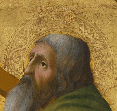 Masaccio, אנדראס הקדוש (פרט), 1426. צבעי טמפרה על עץ,  The Getty Museum, Los Angeles
