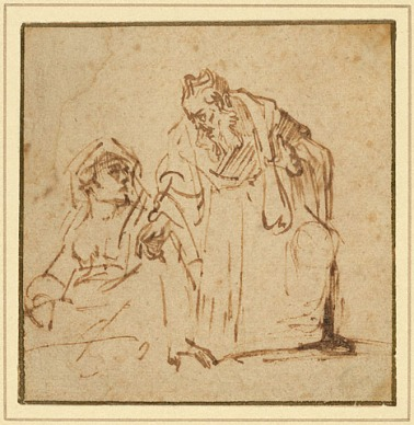 רמברנדט, אטיוד של גבר המדבר אל אשה יושבת, 1635. דיו חום בעט על נייר,  The Getty Museum, Los Angeles