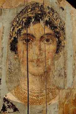 דיוקן מומיה מצרי מפיום (الفيومFayum ), המאה השניה לספירה, צבע אנקאוסטי (שעווה חמה),  Landesmuseums Mainz