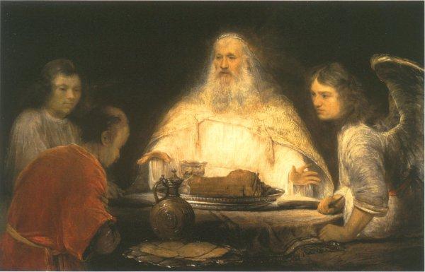 """Arent de Gelder, """"אלוהים והמלאכים מבקרים את אברהם"""" , בין השנים 1680-1685. שמן על בד,  Museum Boijmans Van Beuningen, Rotterdam אין שום קושי לחלץ מתוך הספור המקראי (בראשית י""""ח), בכל עושרו החושני, את מוסר המתן והכנסת האורחים עליו מושתתות, לפי מוס, תרבויות שאינן מערביות. מלמדת על כך העובדה, כי יושב האוהלים אברהם אירח, כמובן, את מי שראה בהם שלושה זרים."""