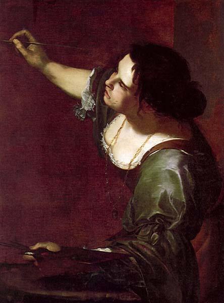 "Artemisia Gentileschi, ""אלגוריה על הציור"" (דיוקן עצמי), בסביבות 1630. שמן על בד, האוסף המלכותי, ארמון קנזינגטון, לונדון."