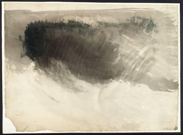 """ג'וזף מאלורד ויליאם טרנר,  """"שמים שחורים מעל מים""""; ככל הנראה מגדלור אדיסטון, בין השנים 1825-30. צבע מים על ניר, Tate Britain, London"""