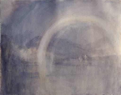 ג'וזף מאלורד ויליאם טרנר, קשת מעל אגם שוויצרי, ככל הנראה Lauerzersee, סביב 1844. גרפית, צבע מים ומחיקה על נייר,  Tate Britain, London