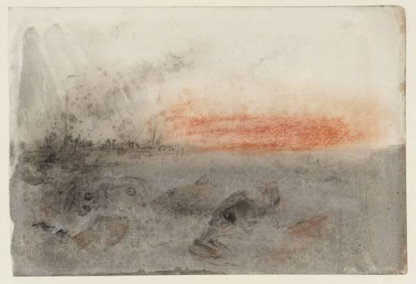 """ג'וזף מאלורד ויליאם טרנר, """"מפלצות-ים וכלֵי שיט בשקיעה"""", 1845. מתוך פנקס הסקיצות של ציידי הלווייתנים, צבע מים ופחם על נייר,  Tate Britain, London"""