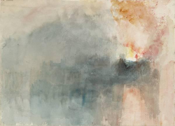 """ג'וזף מאלורד ויליאם טרנר, """"הדליקה בבתי הפרלמנט, מבט מהנהר"""", 1834. מפנקס הסקיצות של הדליקה בבתי הפרלמנט, צבעי מים על נייר,  Tate Britain, London"""