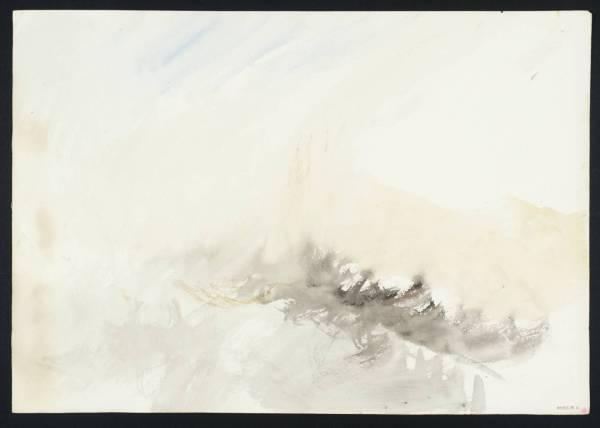 """ג'וזף מאלורד ויליאם טרנר, """"גלים"""", 1844. מתוך פנקס הסקיצות מריינפלדן. צבעי מים על נייר,  Tate Britain, London"""