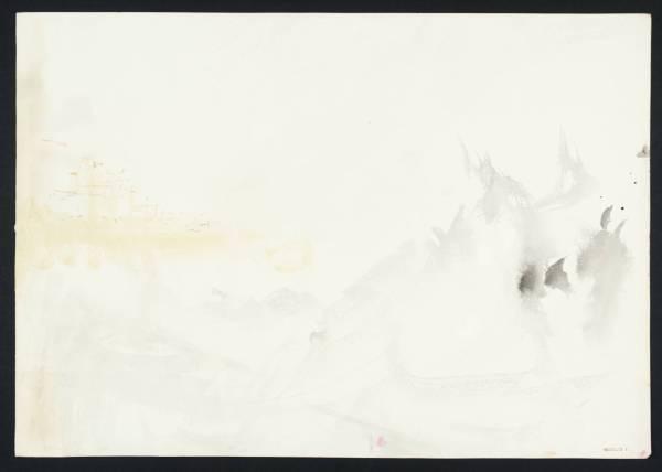 """ג'וזף מאלורד ויליאם טרנר, """"גלים, עם טירה במרחק"""", 1844. מתוך פנקס הסקיצות מריינפלדן. צבעי מים על נייר,  Tate Britain, London"""