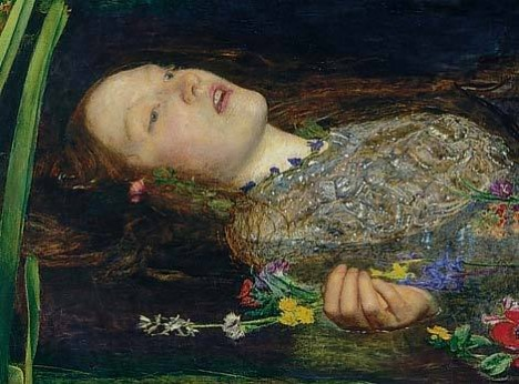 John Everett Millais, אופליה (פרט), שמן על קנבס,  Tate Britain, לונדון