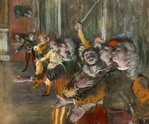 אדגר דגא, המקהלה, 1876. פסטל, תמונה שנגנבה  מ- Musee d'Orsay, Paris