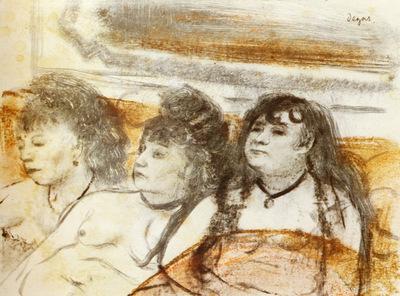 אדגר דגא, שלוש יצאניות על ספה, פסטל על מונוטייפ, כנראה 1879.  Rijksmuseum, Amsterdam