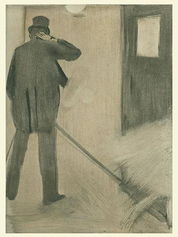 """אדגר דגא, """"מעריץ במסדרון"""", ללא תאריך. תצריב שנעשה ממונוטייפ,  מהאוסף של Héloïse B. Levit, via Art History News"""
