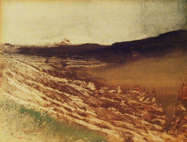 """אדגר דגא, """"נוף בורגונדי"""", 1890. מונוטייפ,  Musée d'Orsay, Paris"""
