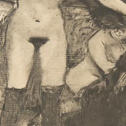 """אדגר דגא, """"המסיבה לפטרון"""", בסביבות 1878-79. העתק נאמן למקור של מונוטייפ, The Metropolitan Museum of Art, New York"""