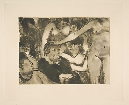 """אדגר דגא, """"מסיבה לפטרון"""", בסביבות 1878-9. העתק נאמן למקור של מונוטייפ,  The Metropolitan Museum of Art, New York"""