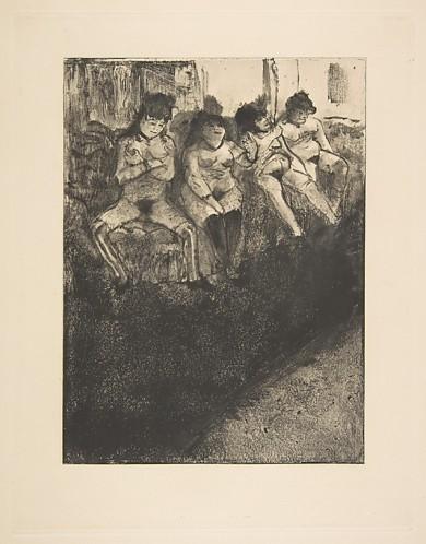 """אדגר דגא, """"בהמתנה"""", כנראה 1879. העתק נאמן למקור של מונוטייפ,  The Metropolitan Museum of Art, New York"""